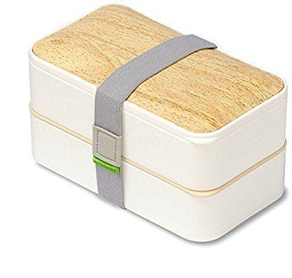 PuTwo Bento Box, Fiambrera con dos compartimentos para transportar alimentos, incluye cubiertos - Blanco