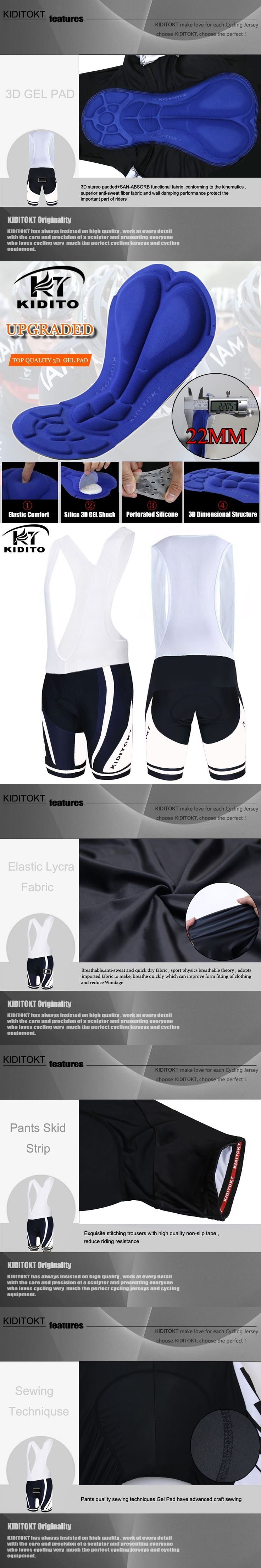 KIDITOKT Shamus 100% Lycra Cycling Bib Shorts Summer Coolmax 3D Gel Pad Bike Bib Tights Mtb Ropa Ciclismo Wicking Bicycle Pants