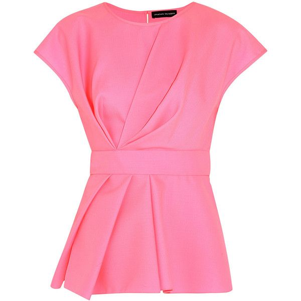 Jonathan Saunders Shirley pleated wool-twill top (7,560 MXN) ❤ liked on Polyvore featuring tops, pink, pink top, ruched top, pink peplum top, shirred top and jonathan saunders