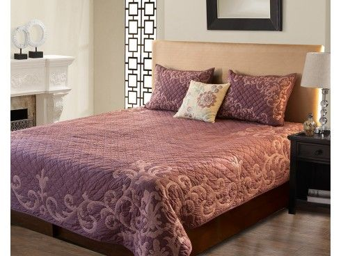 Crewel Embroidered Hand Quilted Lavender Cotton Bedspread