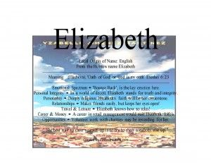 Elizabeth name means oath of God - First name Collections