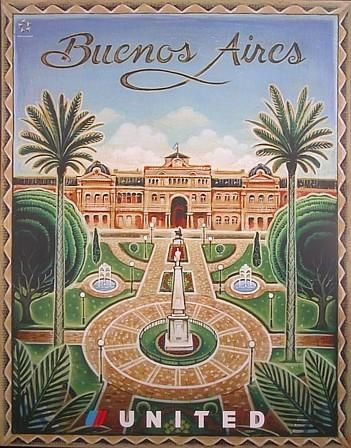 Vintage Buenos Aires United Airlines Poster