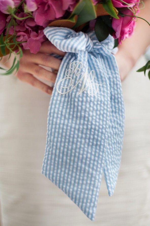 Seersucker Ribbon on Wedding Bouquet