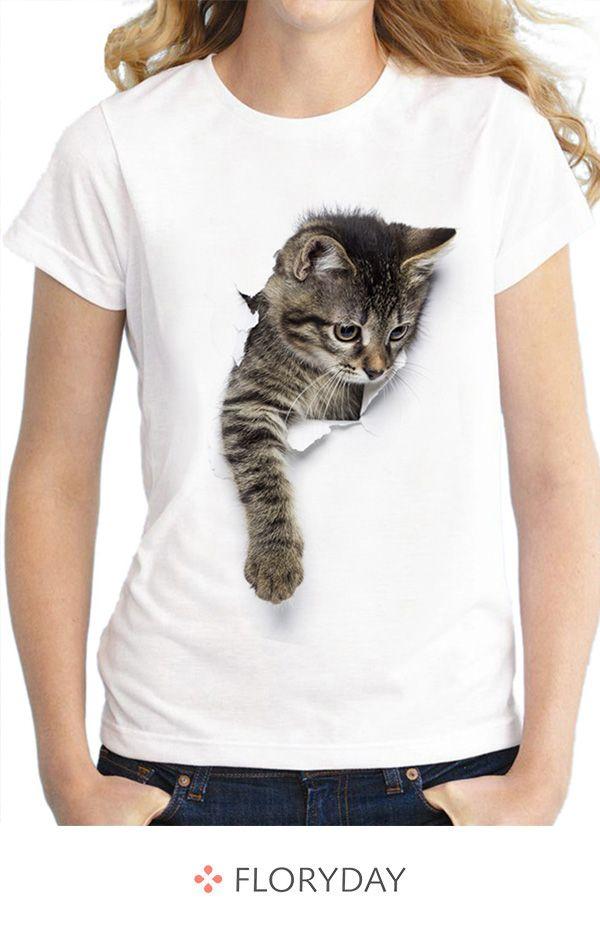 Tierische Rundhals-Kurzarm-T-Shirts