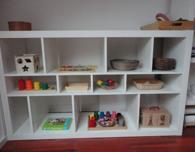 """Montessori Playroom, everything has it's place :) The shelf is from IKEA. I have it in natural and it's in my 2yr old daughter's """"studio"""""""