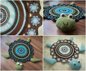 """<input class=""""jpibfi"""" type=""""hidden"""" >This crochet sea turtle rug is so adorable, it would be a lovely addition for your kids room . Make it with your favorite color to match your home decor, that's it ! The pattern is free and from Ravelry . Click here for the Sea Turtle Free Crochet Pattern DIY super-easy-finger-pom-poms rug -- Check…"""