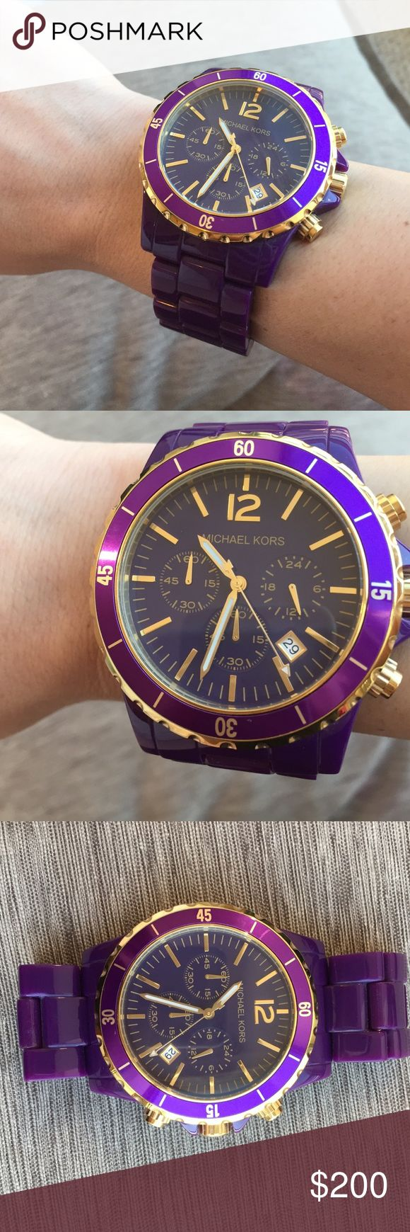 Michael Kors oversized purple plastic watch Oversized, purple Michal Kors plastic watch. Worn less than 5 times, like new condition. Please note watch battery is dead. Will arrive in original box with watch pillow and extra band segments and pins. Michael Kors Jewelry Bracelets