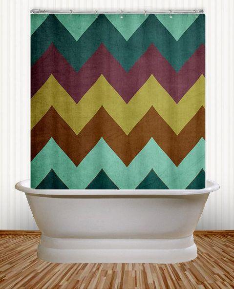 Mountain High   Peacock Chevron Shower Curtain   Teal, Purple, Chartreuse,  Bathroom,
