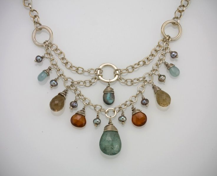Link goes to a sold listing, but the necklace is gorgeous anyway! | Deco Design Necklace in Silver. $174.00, via Etsy.