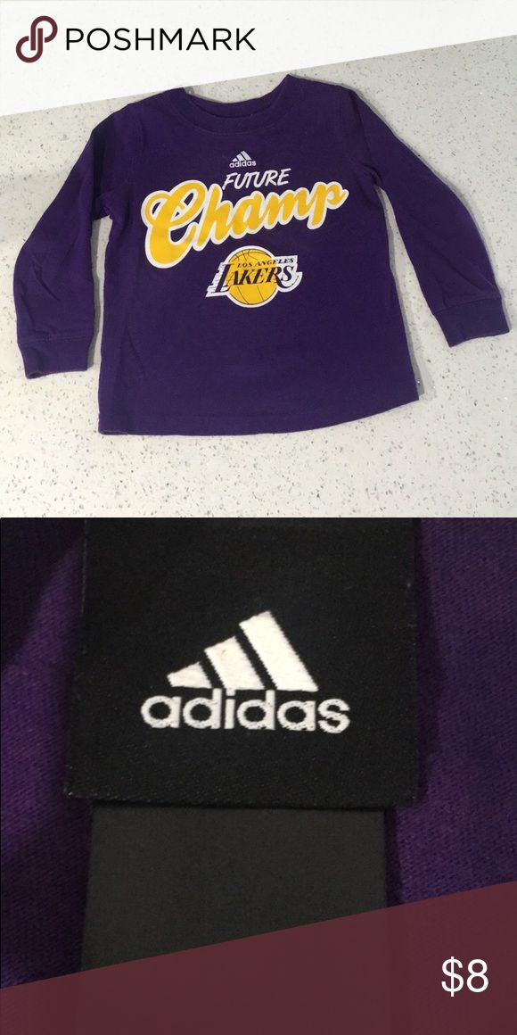 Boys 2T Adidas Lakers Shirt Boys Adidas Lakers Long Sleeve Shirt In like new condition Size on tag faded away but it is a 2T Comes from a pet/smoke free home. adidas Shirts & Tops Tees - Long Sleeve