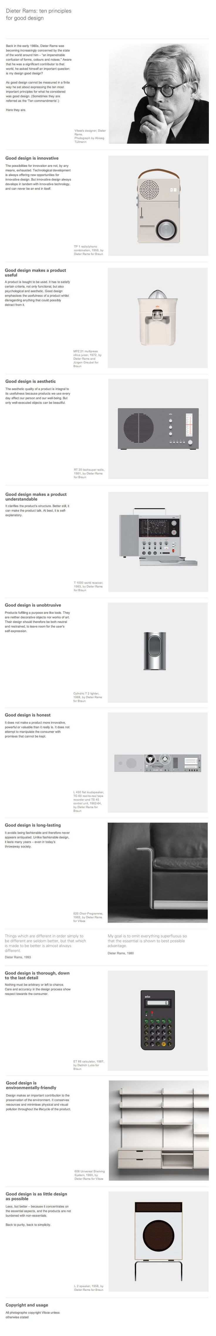 10 Principles For Good Design ; Dieter rams #infographic