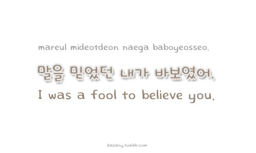 "Learn Korean: ""I was a fool to believe you"""