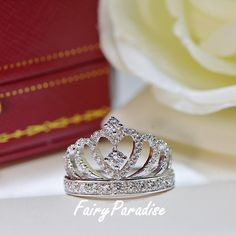 Princess Crown Ring, Accent Tiara Rings, Delicate Ring, Silver Crown Ring, Queen ring, Man Made Diamond, Stacked ring, Crown Wedding Band by FairyParadise on Etsy https://www.etsy.com/listing/464240367/princess-crown-ring-accent-tiara-rings