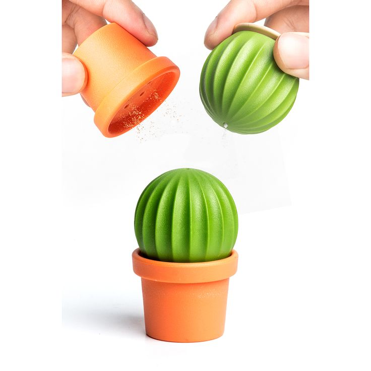 CACTUS SALT & PEPPER SHAKER SET - How cute is this little guy? This little potted cactus will add spice to your leftover and/or microwave lunch. The top and bottom separate to become salt and pepper shakers! Comes in beautifully designed and fun 100% recycled paper packaging printed with soy ink. www.cubiclelife.com