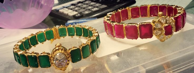 Ruby Emerald Bangles from Premraj Jewellers Wt 30 Gms, Price 1.2 - 1.5 Lakh Rupees www.addiga.com