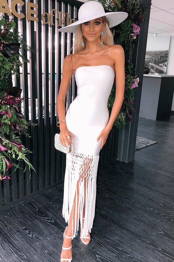 846f9b00f9 White Strapless Tassel Bandage Dress – iulover