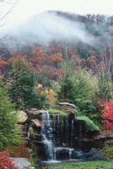 Miss Caroline's Wedding Chapel outdoor waterfall wedding site in Maggie Valley, NC