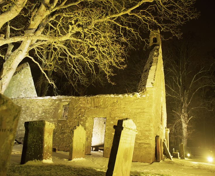 Alloway Kirk, Ayrshire. This eerie ruin is the scene of the The Witches' Dance in Tam o'Shanter by Scotland's National Bard, Robert Burns.