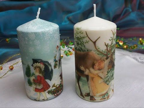 Decoupage tutorial - decorating candles with napkins - YouTube