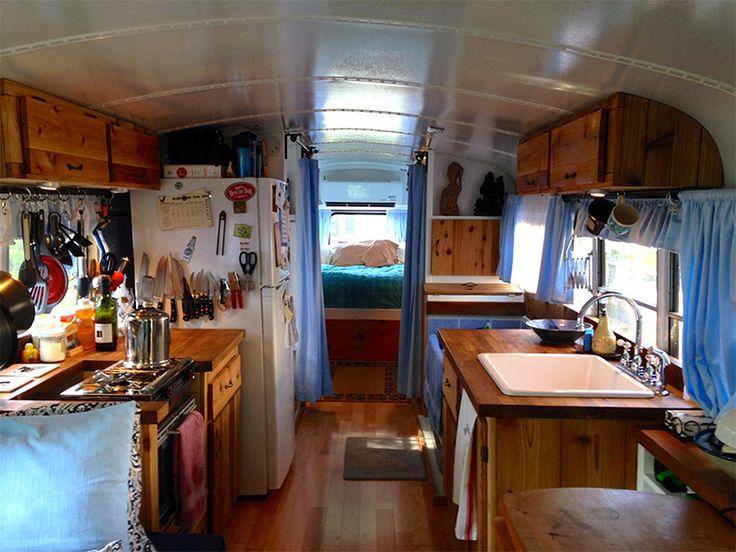 inside a converted school bus motorhome  Travel  RV
