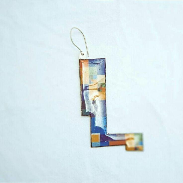 """#earrings#handmade#jewlery #nickelsilver#liquidglass #collage#χειροποιητακοσμηματα #κοσμήματα…"""