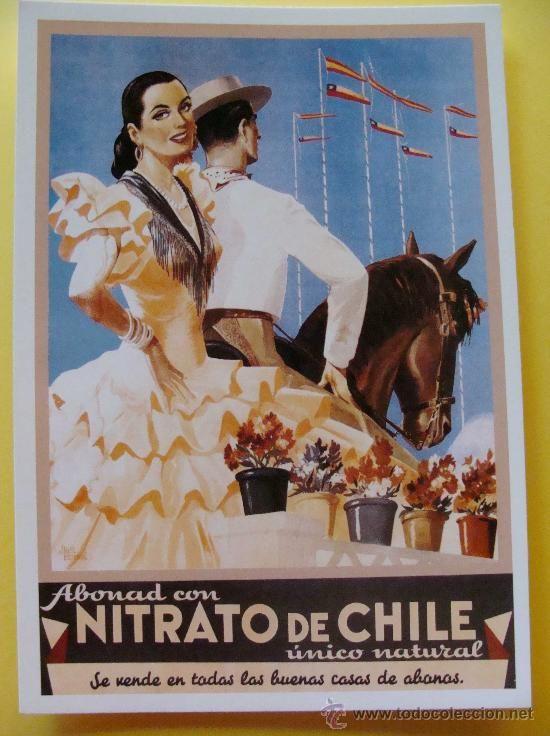 POSTAL ANTIGUO CARTEL DE PUBLICIDAD AÑOS 50 - 60. ABONO NITRATO DE CHILE.