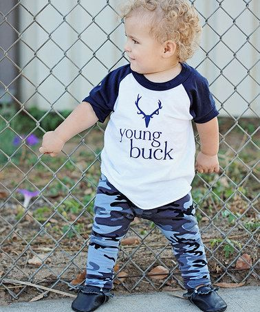 This White & Navy 'Young Buck' Raglan Top - Infant, Toddler & Kids by Tiny Vines is perfect! #zulilyfinds