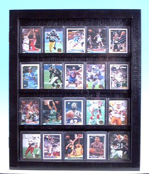 20 Baseball card displays case will hold 20 ungraded baseball cards Glossy Black 100094
