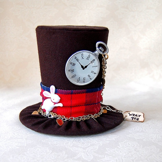 Tiny Top Hat: The White Rabbit - Alice in Wonderland Through the Looking Glass Tea Party Mad Hatter Cosplay Costume Unbirthday