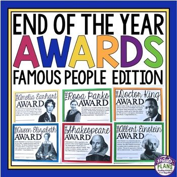 END OF THE YEAR AWARDS: End your school year by giving your students these 30 ready-to-print awards inspired by famous and influential people in history! Each of the awards is named after a famous person and a detailed explanation for why the student is receiving the award is included on the certificate. All you have to do is print, sign/date, and you are done. Click the preview button under the product images to see a few examples of the awards!