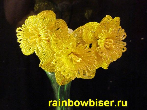 нарцисс из бисера.: Bead, Rubrics, Beads Flowers, Sculpting Flowers, Diy Flowers, Радуга Бисера, Flowers From, French Beads, Нарцисс Из