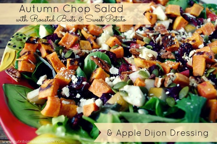 Autumn Chop Salad with Roasted Beets + Sweet Potato and Apple Dijon Dressing (gluten free & easily vegan!)