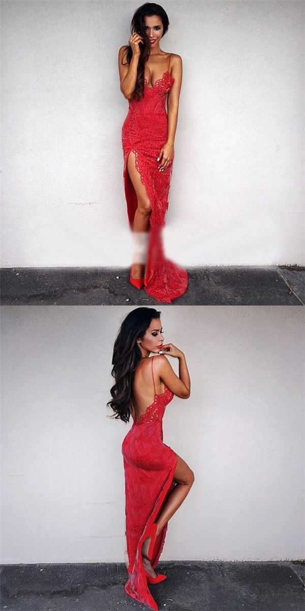Red Lace Sexy Side Split Spaghetti Straps Formal Prom Dresses, Most Popular Prom Dress, PD0349