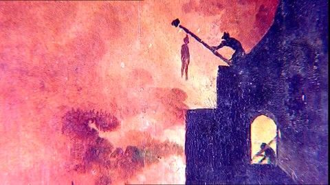 Hell, Museo del Prado, Hieronymus Bosch, Panel Painting, Old Master, Madrid (City), Fire (Blaze), Renaissance, Painting (Picture), Artwork, Image, Danger, Silhouette, Stock Footage,