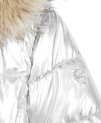a20853fcd710 Michael Michael Kors Little Girls Hooded Puffer Stadium Coat with Faux-Fur  Trim - Silver 5 6