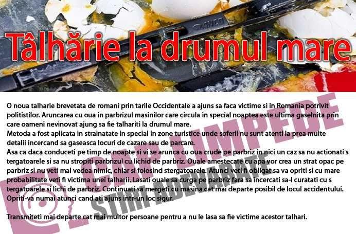 TALHARIA CARE A INGROZIT OCCIDENTUL A AJUNS IN ROMANIA! AVERTIZEAZA PE TOATA LUMEA!
