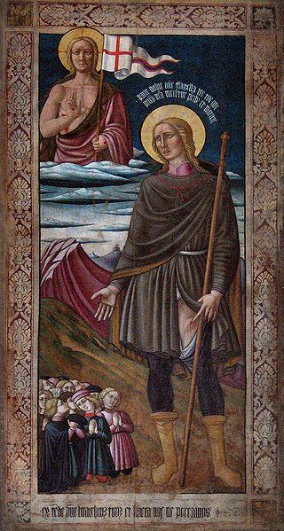 """Pierantonio Mezzastris (attr. a) - """"San Rocco e il Redentore"""" - ca. 1480 - Chiesa di San Giacomo, Foligno, Italia"""