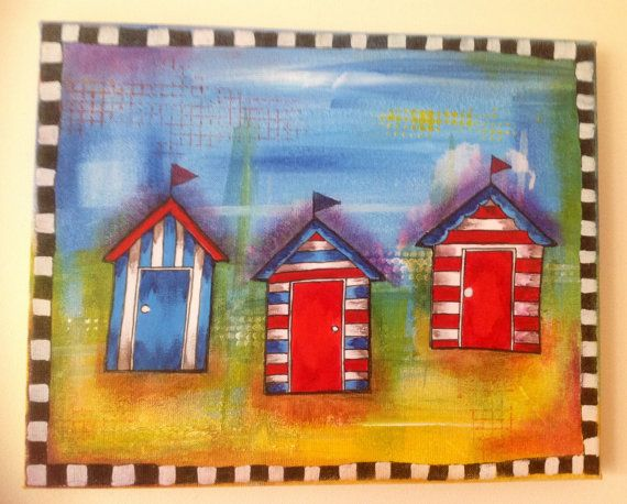 Beach hut mixed media canvas art by ArtByBoCanvas on Etsy, £30.00