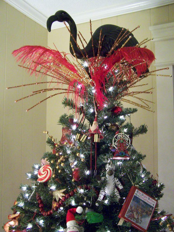 nothing says christmas like a giant black flamingo christmas tree topper - Whimsical Christmas Tree Toppers