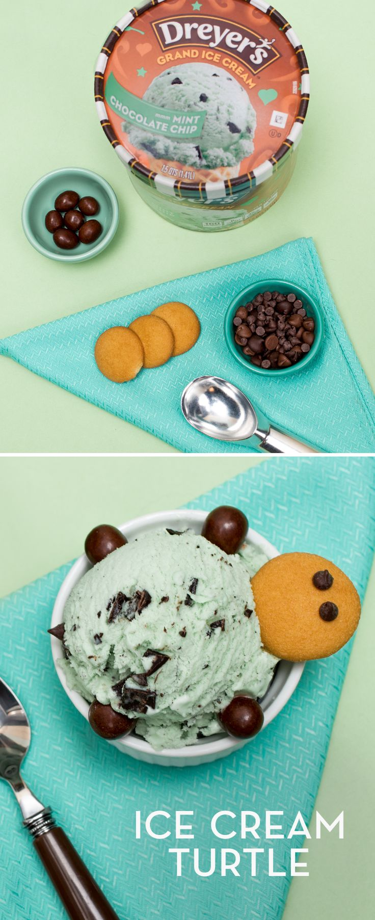 Dreyer's Ice Cream Turtle: This delicious dessert recipe is so simple, quick, and easy, you'll wonder if slow and steady really wins the race! Top a scoop of Mint Chocolate Chip ice cream with a large vanilla wafer for his head, four large candy pieces for his legs, a chocolate chip for his tail and two more for his eyes. Turtley awesome, isn't it?