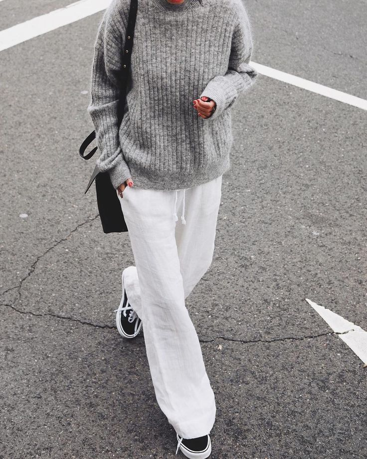 white and grey sweater