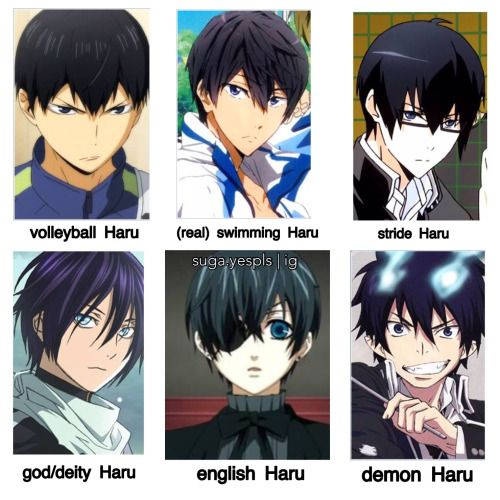 Different types of Haru Tags: Noragami, Kuroshitsuji, Black Butler, Crossover, Ao No exorcist, Blue exorcist, Haikyuu