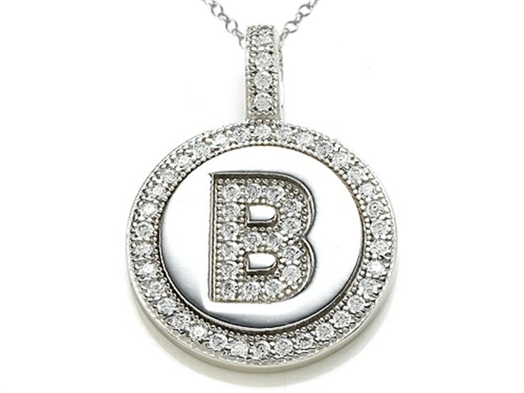 33 best initial pendant necklaces images on pinterest initial zoe r sterling silver micro pave hand set cubic zirconia cz letter b aloadofball Image collections