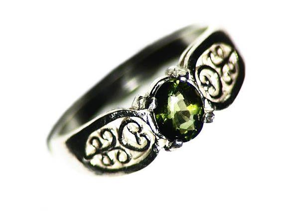 Groene Toermalijn Ring maat 7 Ring Zilver 066 ct Faceted