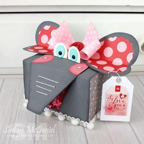Shellye McDaniel-Elephant Valentine Treat Box with recycled Keurig Box.  Scrapbook & Cards Today Blog @echoparkpaper