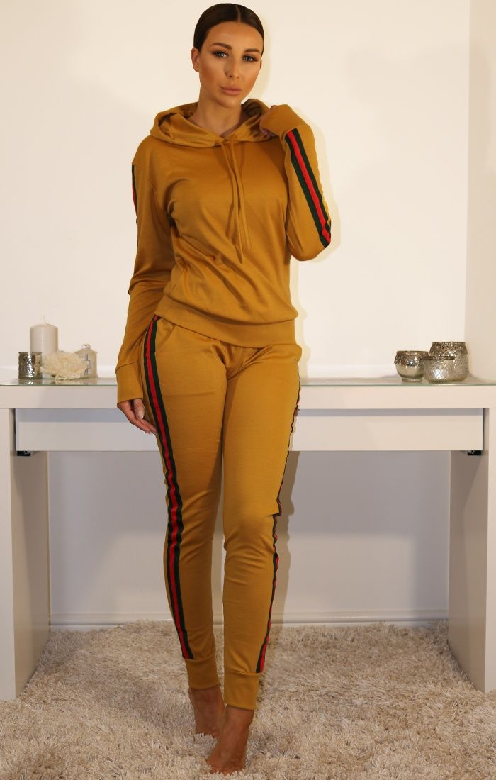 #Black #Khaki #Cropped #tracksuit #cheap #loungewear #set
