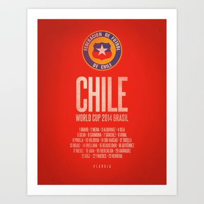 Chile World Cup 2014 Celebrative Artwork Art Print by The Soccer Supply - $14.56