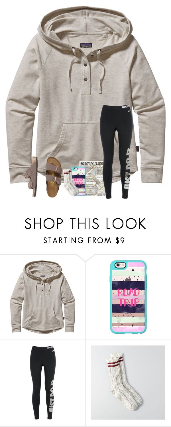 """""""challenge day5: road trip"""" by arieannahicks on Polyvore featuring Patagonia, Casetify, NIKE, American Eagle Outfitters and Birkenstock"""