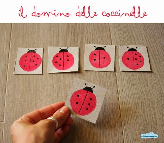 Quandofuoripiove - giocattoli fai-da-te con cui può giocare da sé: il domino delle coccinelle  D.I.Y. recycled toys: the ladybug domino