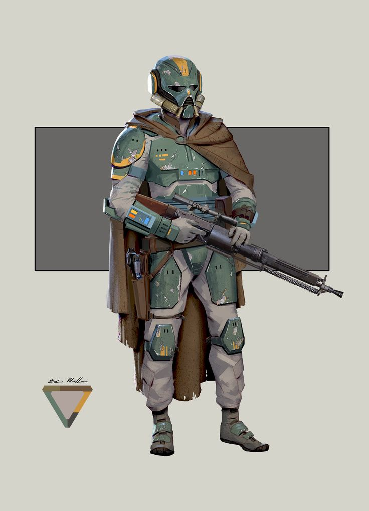 Female Star Wars bounty hunter. I was inspired by ROTJ and Leia's stature in her Bounty hunter outfit.